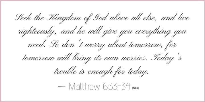 Matthew 6 verse 33-34